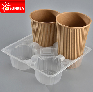 Disposable PP plastic coffee cup carrier