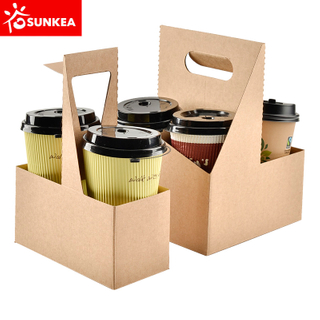 Brown kraft paper coffee cup carrier