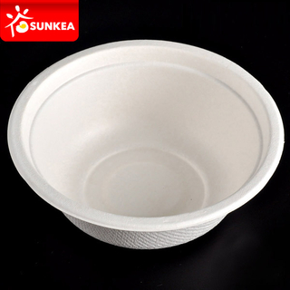 Compostable Biodegradable White Sugarcane Pulp / Bagasse Bowl