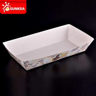 Disposable Custom Printed White Paper Food Tray