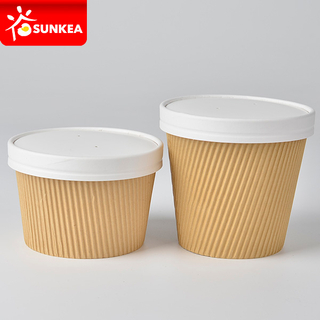 15oz 17oz 3 Layer Ripple Kraft Paper Soup Cup