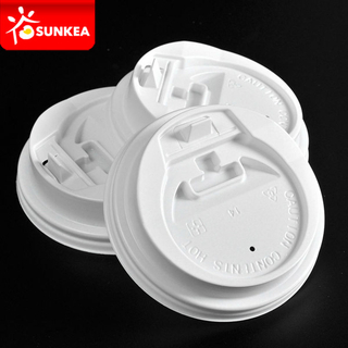 Disposable Paper Coffee Cup White Plastic Lid
