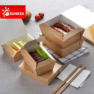 Self Lock 3 Layer Takeaway Kraft Paper Food Box