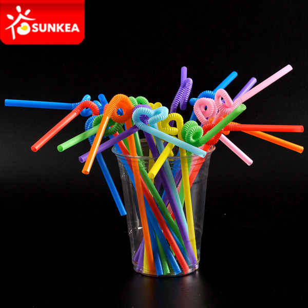 Colored Elastic Plastic Flexible Drinking Straw