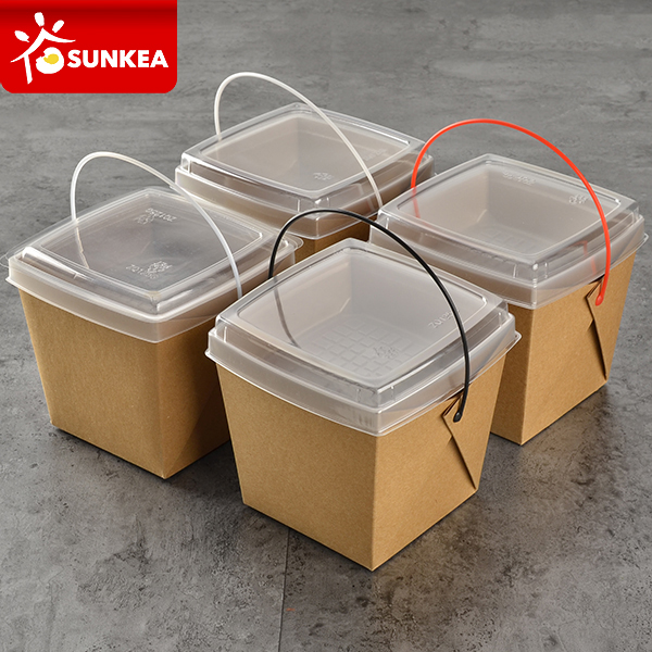 Disposable takeout plastic handle food paper container with dish tray