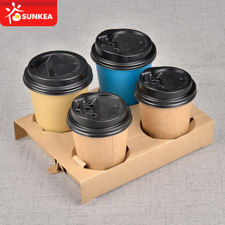 Brown kraft paper coffee cup carry tray