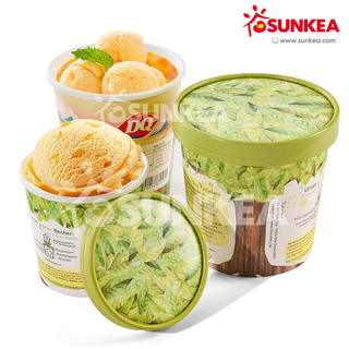 Sunkea Custom Logo Printed Paper Ice Cream Cup