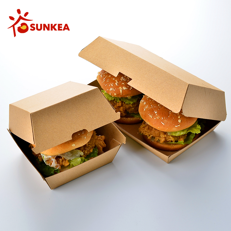 Sunkea disposable eco-friendly packaging double burger box