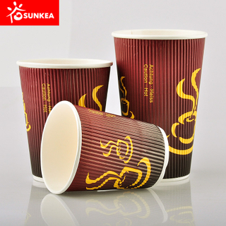 A grade shiny hard paper triple wall paper cup