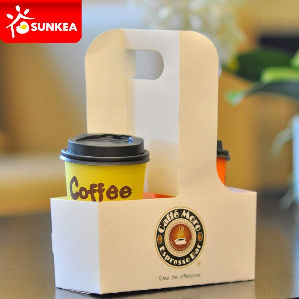 White 4 Slots Coffee Cup Paper Carrier